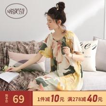 睡裙女dp夏季半袖长yy薄式性感日式裙子甜美宽松孕妇夏天睡衣