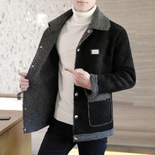 男非主dq夹克韩款修jf绒外套青年羊羔毛短式个性加绒加厚上衣