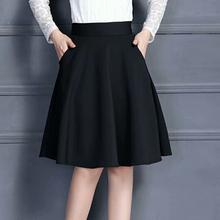 中年妈dq半身裙带口na式黑色中长裙女高腰安全裤裙伞裙厚式