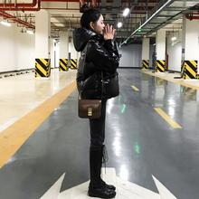 (小)个子dq色羽绒服女lw2020年冬季新式时尚连帽爆式白鸭绒外套