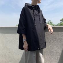 旋律风dr纯色衬衫男xd季韩款潮流连帽套头休闲上衣短袖衬衣潮