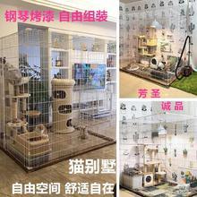 独立空dr半封闭防护nk品笼子中型猫笼特大号封闭式多层房间