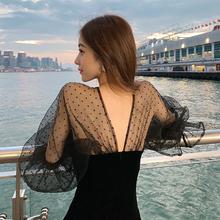 粉丝领ds立减20】dj2020夏季新式网纱晚礼服气质黑裙中长式裙