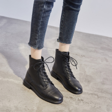 头层牛dt2020年wo季马丁靴女英伦风短靴加绒粗跟拉链女靴中跟