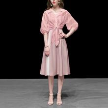 粉色棉du衬衫短式宽ab潮百搭休闲防晒衫女装春装2021新式
