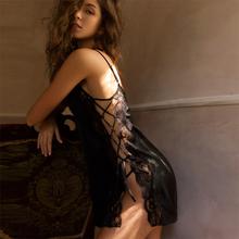 雅(小)姐du感睡衣女春un蕾丝花边诱惑吊带睡裙夏绑系带
