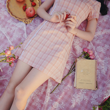 旧时光dutime an良短式格子旗袍年轻式少女(小)个子连衣裙学生夏