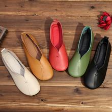 春式真du文艺复古2an新女鞋牛皮低跟奶奶鞋浅口舒适平底圆头单鞋