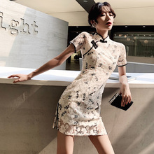 改良旗du女紧身短式an瘦中国风复古年轻式少女性感蕾丝连衣裙