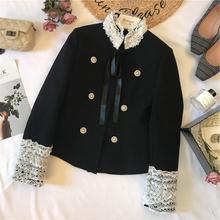 陈米米du2020秋an女装 法式赫本风黑白撞色蕾丝拼接系带短外套