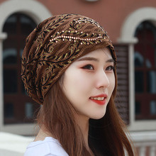 帽子女du秋蕾丝麦穗sa巾包头光头空调防尘帽遮白发帽子
