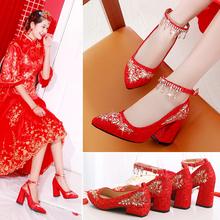 红鞋结du鞋平跟中式li粗跟孕妇大码舒适婚鞋女红色敬酒秀禾鞋