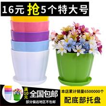 彩色塑料大号花du室内阳台盆le植物仿陶瓷多肉创意圆形(小)花盆
