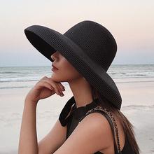 韩款复du赫本帽子女ai新网红大檐度假海边沙滩草帽防晒遮阳帽