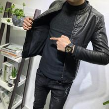经典百du立领皮衣加ai潮男秋冬新韩款修身夹克社会的网红外套