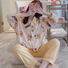 月子服du秋纯棉产后ai妇睡衣产妇8月份9怀孕期哺乳喂奶衣套装