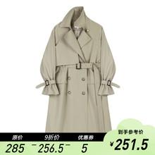 【9折】VEduA CHAun中长款收腰显瘦双排扣垂感气质外套春