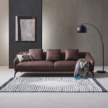 现代简约du皮沙发 意un牛皮 北欧(小)户型客厅单双三的