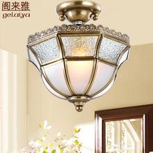 美式客du(小)吊灯单头ce走廊灯 欧式入户门厅玄关灯 简约全铜灯