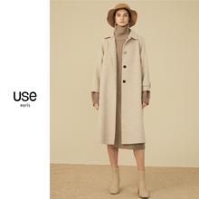 双面呢全羊毛du约大衣女Uce020秋冬款花驼色翻领宽松A型毛呢外套