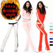 韩国修du时尚学生卫ce加绒加厚休闲运动套装女秋冬显瘦长裤潮