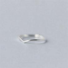 (小)张的du事原创设计gu纯银简约V型指环女尾戒开口可调节配饰