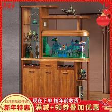 客厅中du实木鱼缸玄gu厅柜隔断装饰柜酒柜间厅柜简约双面鞋柜