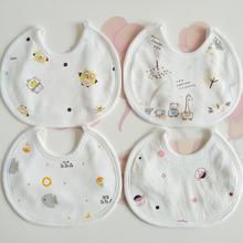 婴儿宝du(小)围嘴纯棉du生宝宝口水兜圆形围兜春夏季双层