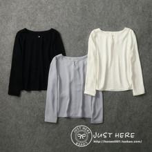 日本原单2020新品女式简洁圆领纯色du15衫出口du皱褶雪纺衫