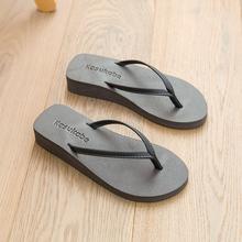厚底坡跟细带中跟的字拖女du9平跟底情en滩拖松糕防滑凉拖鞋