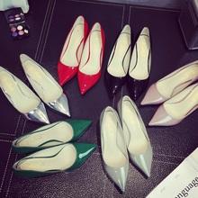 202du新式银色细ka高跟鞋真皮中跟低跟猫跟单鞋女红色婚鞋5cm