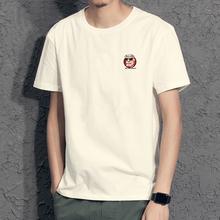 新式港风潮牌夏季短袖T恤青年男士纯du14宽松大ka半袖t��