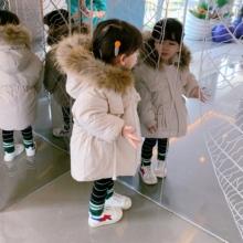 香港靓du女童棉服儿ie冬装男童(小)宝宝棉衣洋气加厚大毛领外套