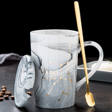 北欧创du陶瓷杯子十wu马克杯带盖勺情侣咖啡杯男女家用水杯