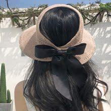 草帽子dw夏天韩款防z7遮阳帽沙滩出游渔夫防紫外线遮脸太阳帽
