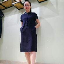 韫YUdw2021夏z7POLO领连衣裙韩款减龄显瘦A字针织连衣裙女大码