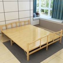 折叠床dy的双的简易te米租房实木板床午休床家用竹子硬板床