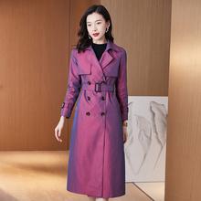 风衣女dy长式202wf新式英伦风薄外套长式过膝气质女装大衣流行