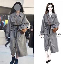 202dy明星韩国街wf格子风衣大衣中长式过膝英伦风气质女装外套