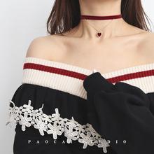 初秋式礼物丝绒爱dz5chokrg颈链少女心脖子饰品颈带项链项圈女