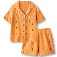 舒服的dz鬼!无印风rg衣男女夏季纯棉双层纱布短袖睡衣女薄式