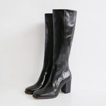 韩国东dz门衣玲女鞋rg尚绒面高筒靴长靴粗跟骑士靴气质百搭潮