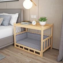 花花实e3通用床头柜3u层猫笼木床狗窝狗床家具金毛宠物窝。