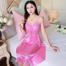 睡裙女ea带夏季粉红lm冰丝绸诱惑性感夏天真丝雪纺无袖家居服
