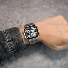 insea复古方块数es能电子表时尚运动防水学生潮流钢带手表男