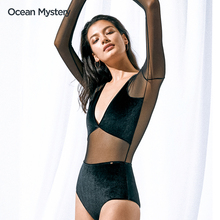 OceeanMystes泳衣女黑色显瘦连体遮肚网纱性感长袖防晒游泳衣泳装