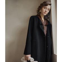 dodea双面呢子羊th女100%纯羊毛秋冬装中长式羊皮拼接毛呢外套