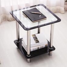 简易钢ea玻璃边几床th锈钢(小)茶几正方形(小)方桌简约喝茶桌现代