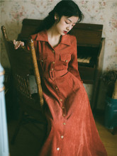 202ea秋冬季女装th古灯芯绒衬衫连衣裙长袖修身显瘦气质长裙