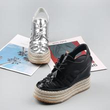 欧洲站坡跟鞋女2ea521夏季th时尚厚底女鞋系带镂空超高跟凉鞋